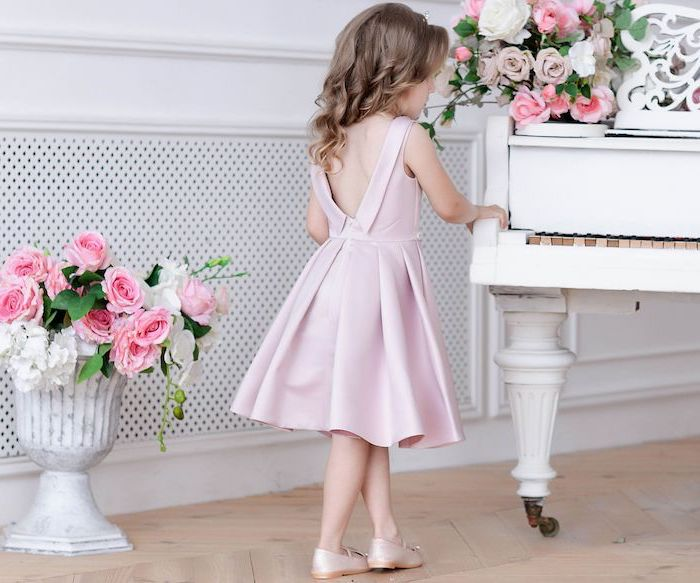 pink satin dress, white piano, blonde wavy hair, pink shoes, flower girl dress, flower bouquets
