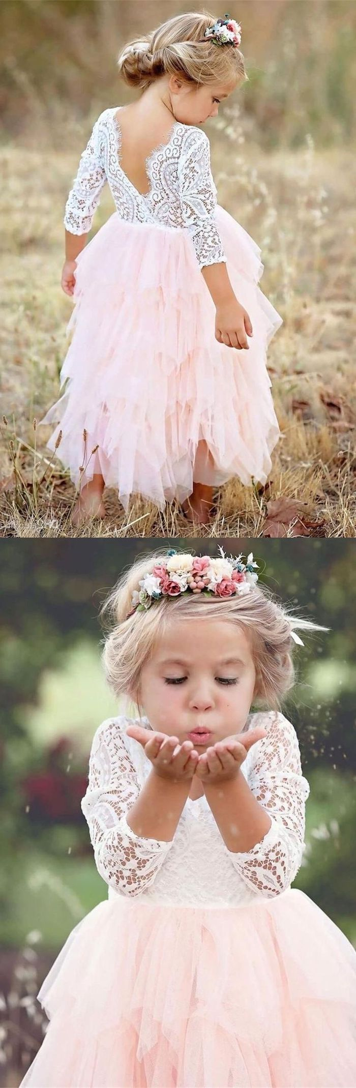 white lace top, pink tulle bottom, flower crown, flower girl dress, blonde hair, in a low updo