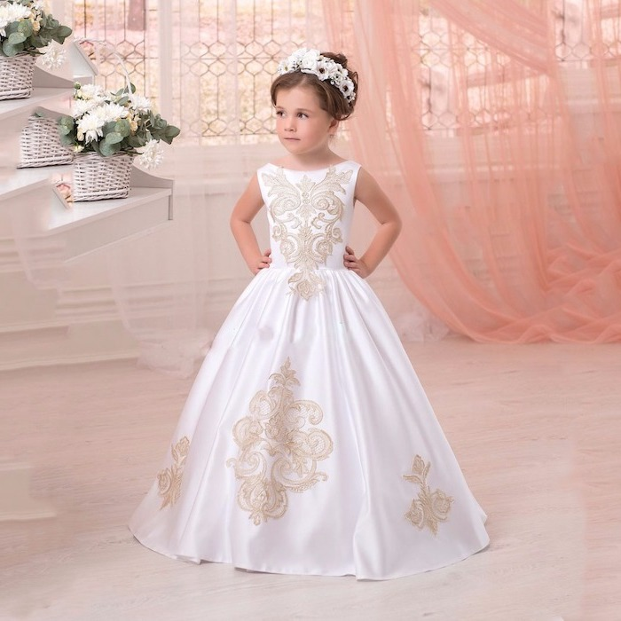 white satin dress, with ivory lace, girls formal dresses, white flower diadem, brown hair, in a low updo