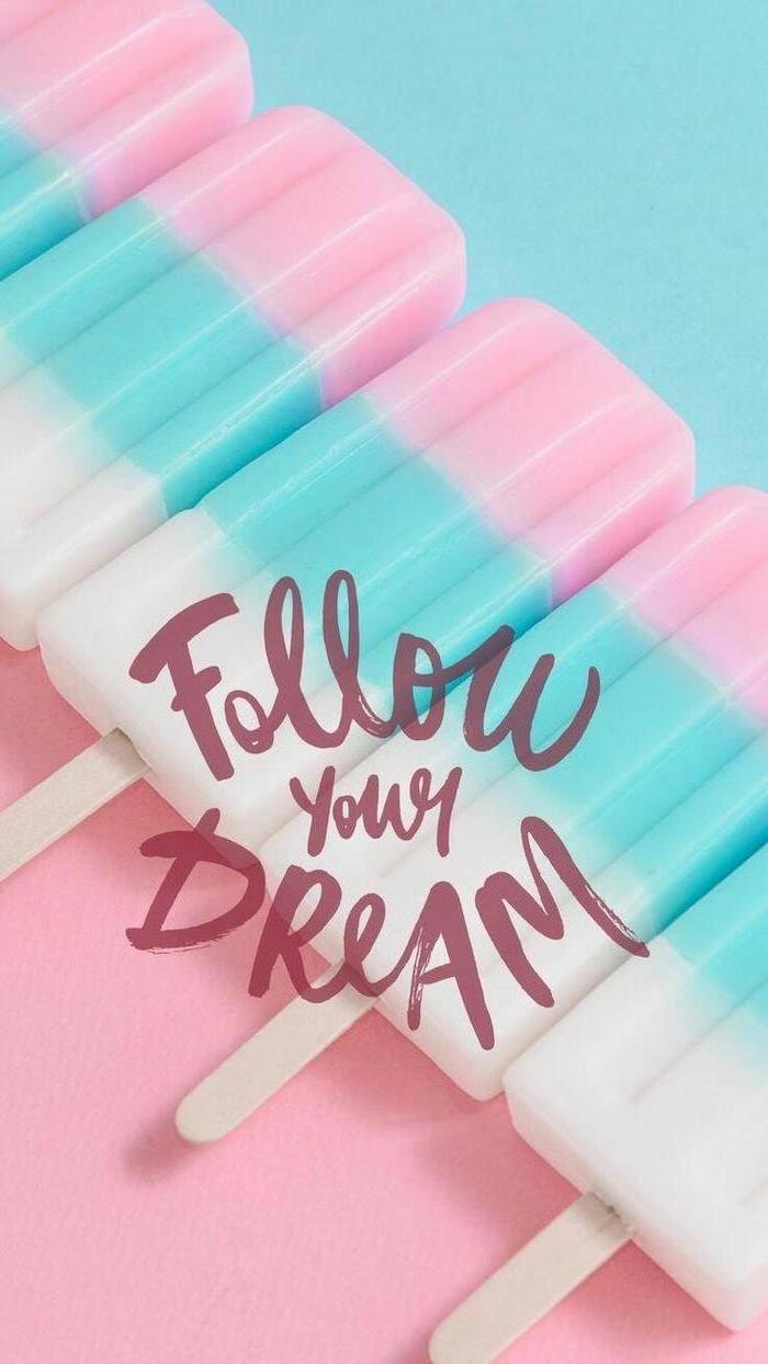 girly backgrounds, follow your dream, pink blue and white lollipops, cute backgrounds for your phone