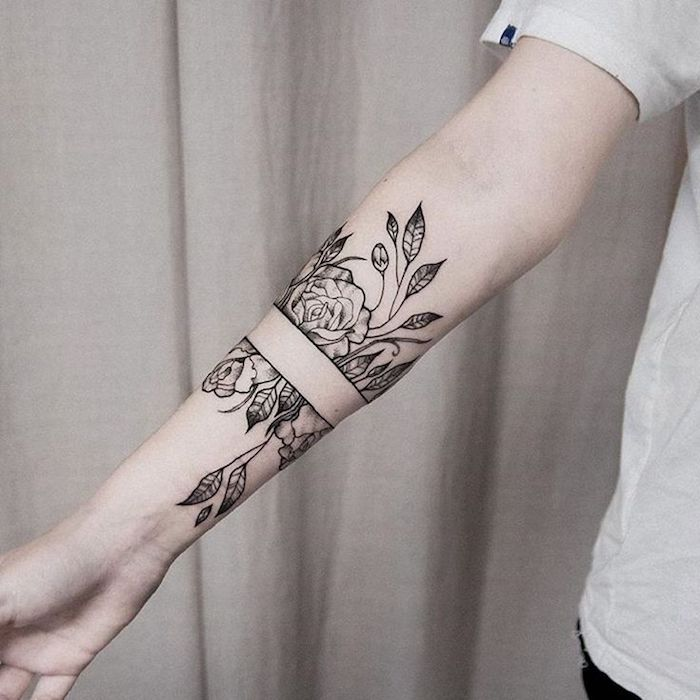white background, flowers forearm tattoo, small meaningful tattoos
