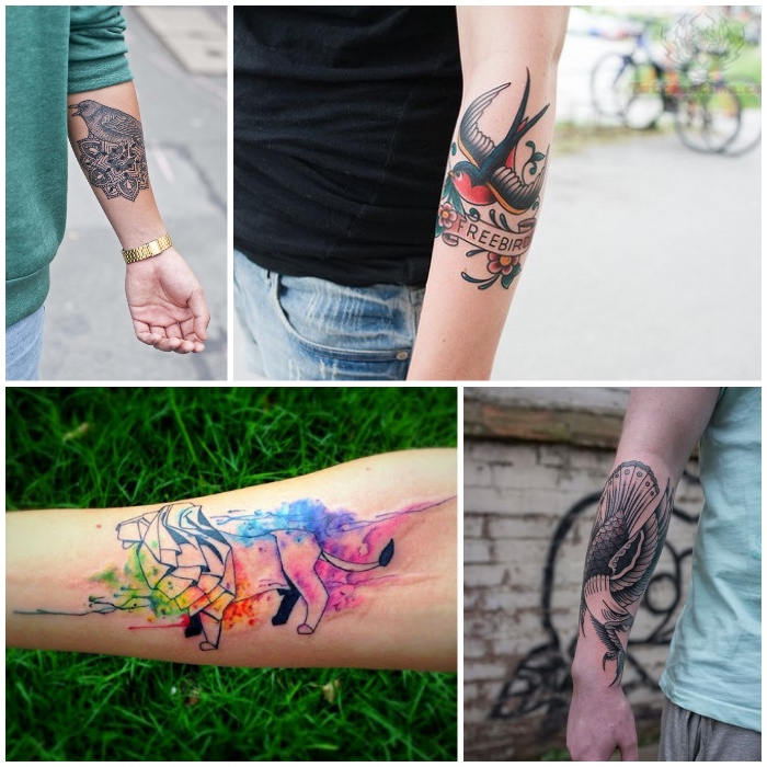side by side photos, forearm tattoos, watercolour tattoos, mandala birds
