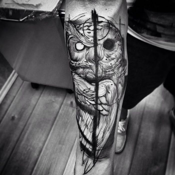 owl forearm tattoo, wooden floor, tattoos for men with meaning, black and white photo