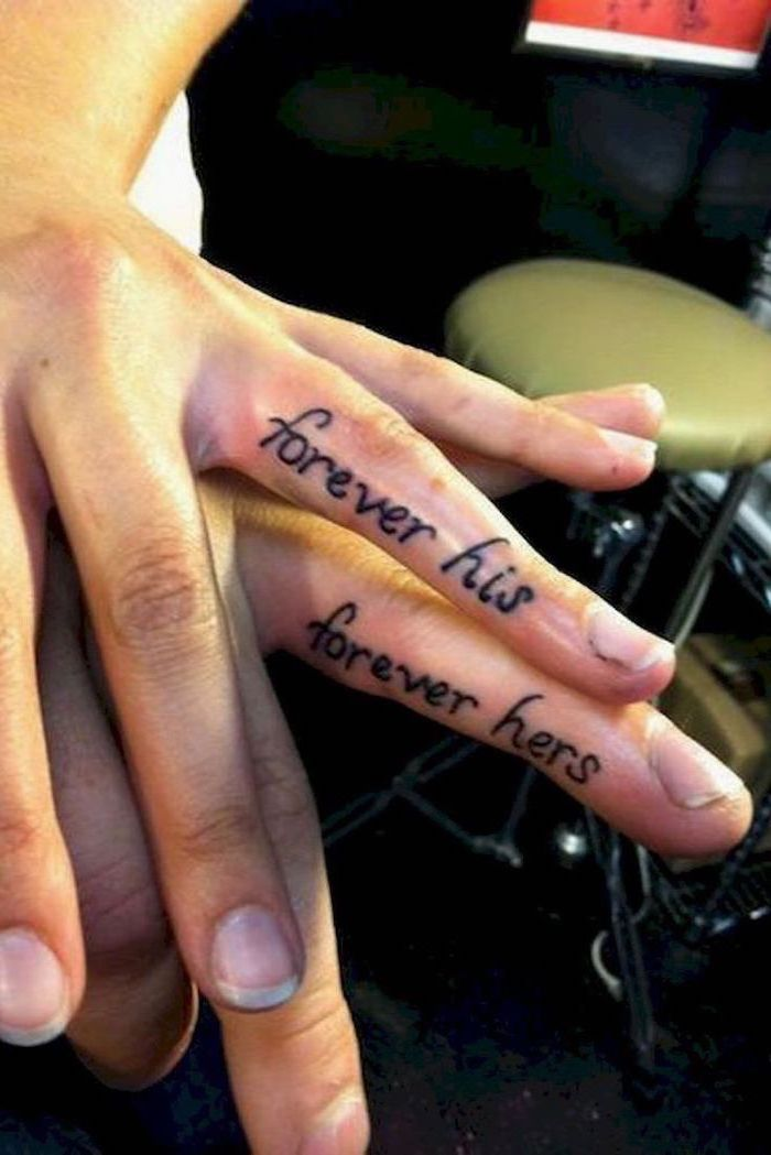 forever his, forever hers, finger tattoos, couple tattoos ideas gallery