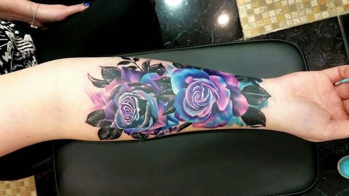 galaxy roses, forearm tattoo, tattoos for moms, black leather arm rest