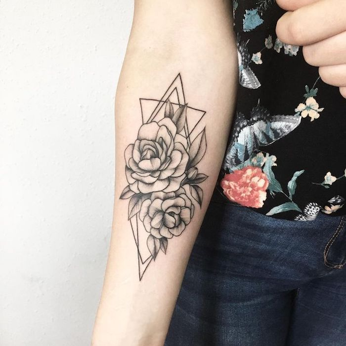 floral geometrical, forearm tattoo, arm tattoos for girls, floral top, white background
