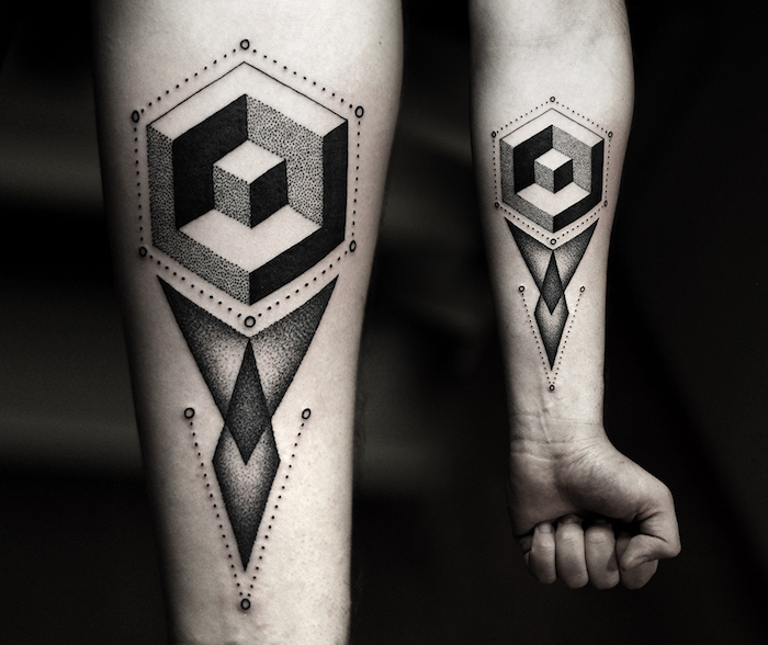 geometrical 3d forearm tattoo, black background, side by side photos, arm tattoos for girls