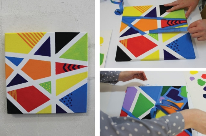 geometrical painting, preschool games for kids, step by step, diy tutorial, green and yellow, red and orange paint