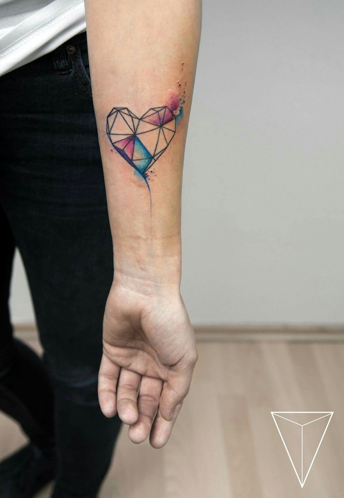 geometrical heart, forearm tattoos for women, watercolour tattoo, wooden floor