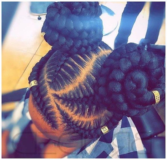 black hair, in two buns with beads, big cornrow braids, tiled floor, plaid shirt
