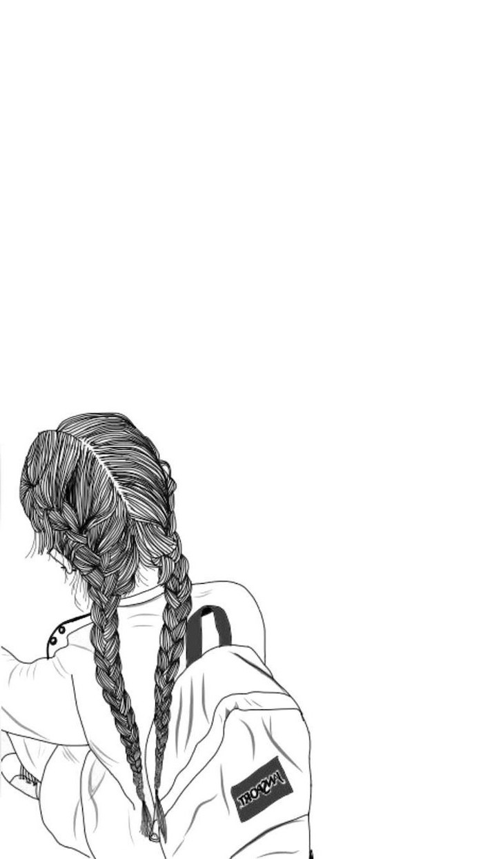 girl with braids and a backpack, girly backgrounds, drawing on a white background