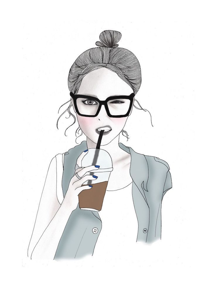 girl drawing, black and white tumblr, black sunglasses, coffee cup, grey jacket, white background