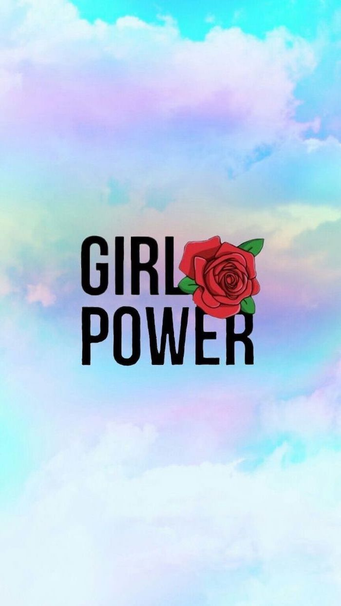 girl power, red rose, kawaii background, blue and purple sky