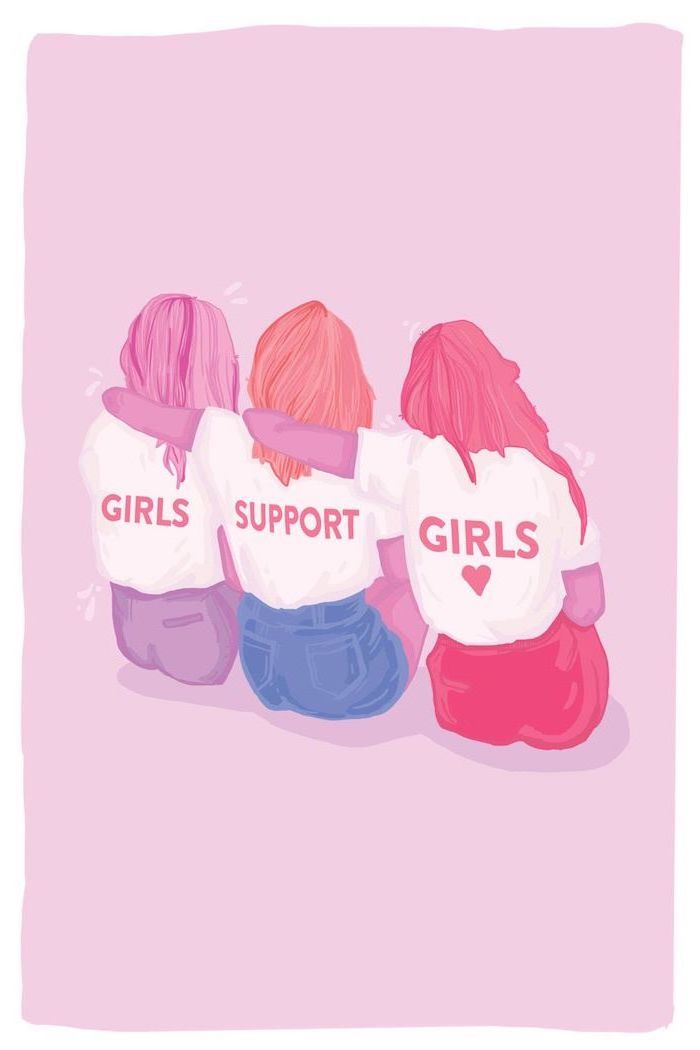 girls support girls, three girls hugging, kawaii background, pink background