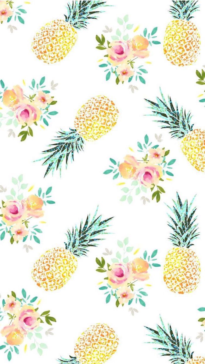 kawaii background, pineapples and flowers drawing, on a white background