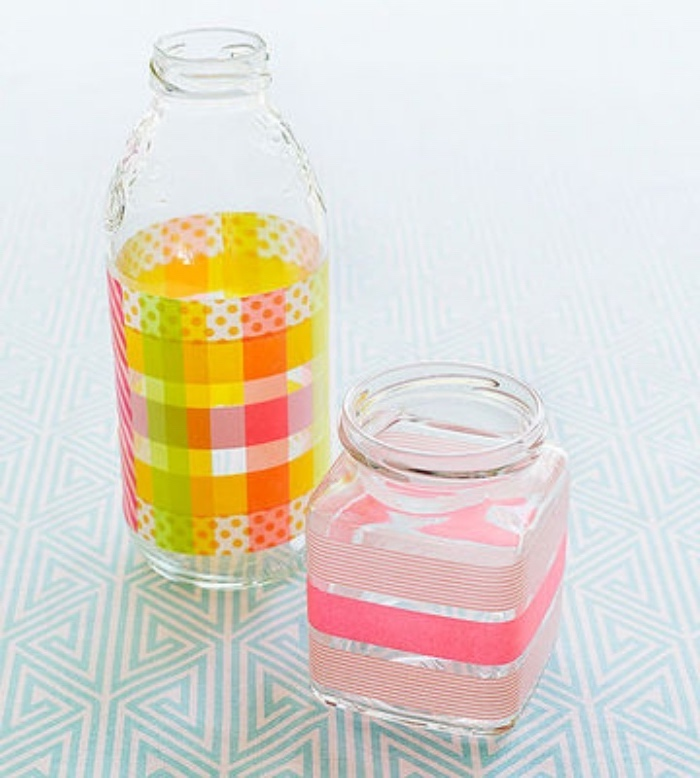 glass bottle, glass jar, washi tape around them, preschool games for kids