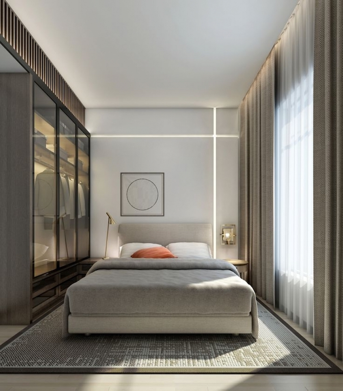 glass wardrobe, grey carpet, master bedroom decorating ideas, wooden floor, white wall, led lights