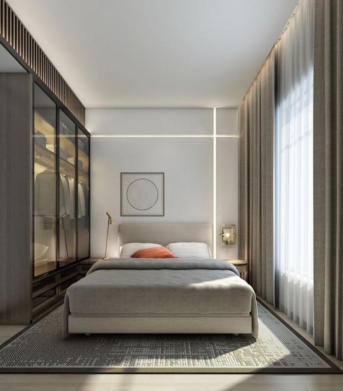 glass wardrobe, grey carpet, master bedroom decorating ideas, wooden floor, white wall, led lights