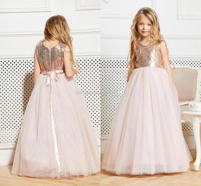 rose gold sequins, pink tulle, toddler girl dresses, long blonde wavy hair, wooden floor
