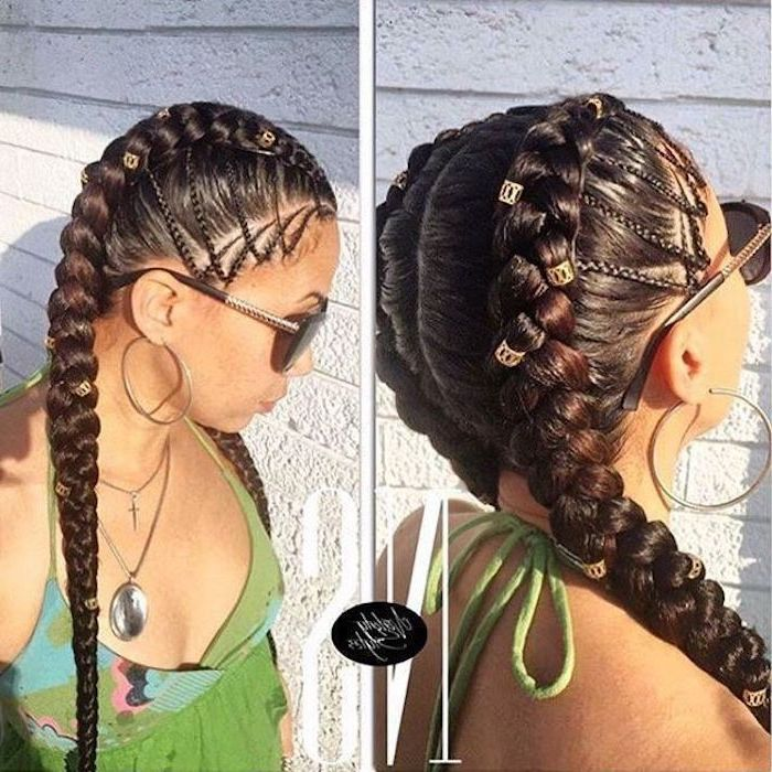 side by side photos, big cornrow braids, woman wearing sunglasses, green dress, hoop earrings