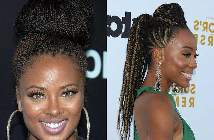 woman with black hair, side by side photos, big cornrow braids, two different hairstyles