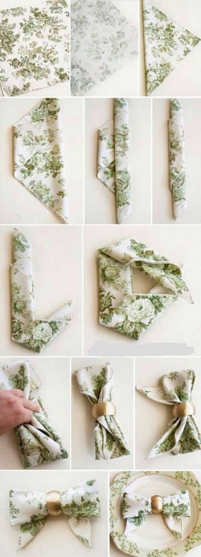 paper napkin folding, green floral napkin, in the shape of a bow, golden ring around it, diy tutorial, step by step