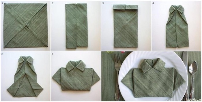 olive green napkin, in the shape of a shirt, paper napkin folding, step by step, diy tutorial
