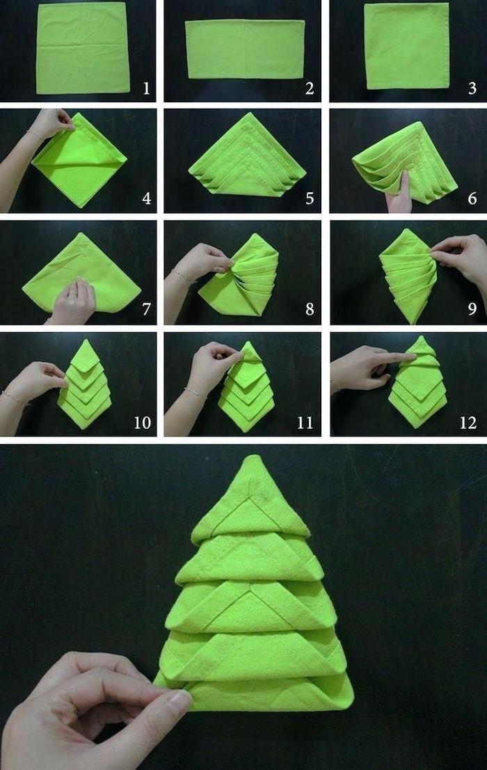 green napkin, in the shape of a christmas tree, folding diy tutorial, step by step, paper napkin folding