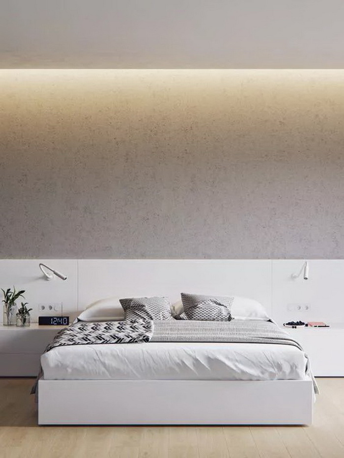 grey granite wall, bedroom design ideas, white bed, white shelves and drawers, wooden floor