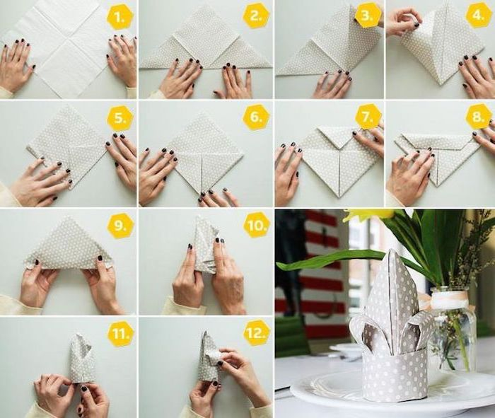 grey napkin, cloth napkin folding, with white dots, diy tutorial, step by step