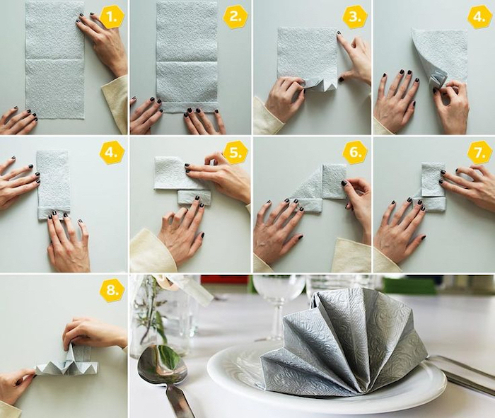 diy tutorial, step by step, grey napkin, fan shaped, cloth napkin folding