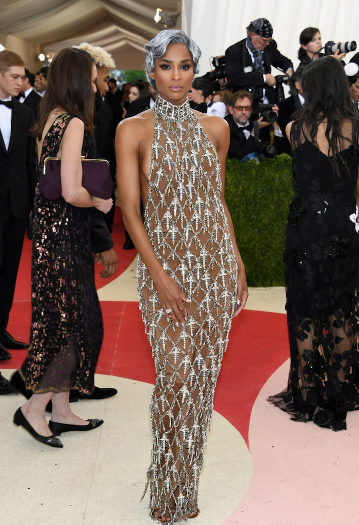 ciara wearing a nude and silver dress, short grey hair, met gala 2017, photographers in the background