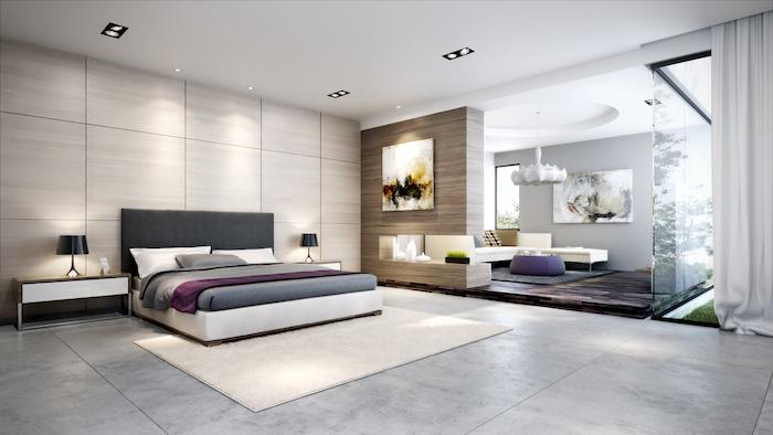 master bedroom decor, wooden walls, grey granite floor, white carpet, dark grey headboard