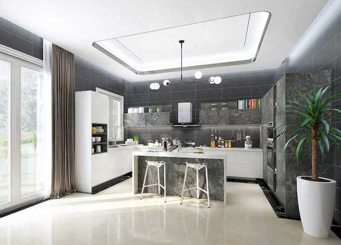 island cabinets, in granite grey, white floor, granite kitchen island, white countertops, tall windows