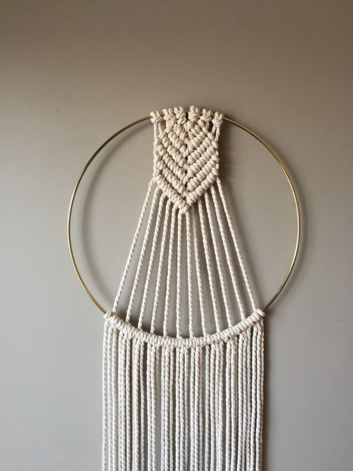 gold ring, white macrame, grey wall, free macrame patterns and instructions