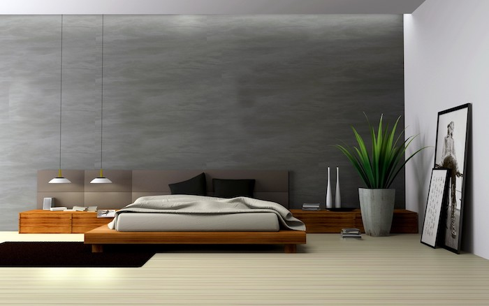 grey wall, wooden floor, wooden bed frame and shelves, how to decorate a small bedroom, hanging lights