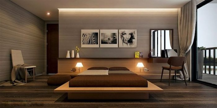 grey walls, hanging art, wooden bed frame, led lights, how to decorate a small bedroom, large windows