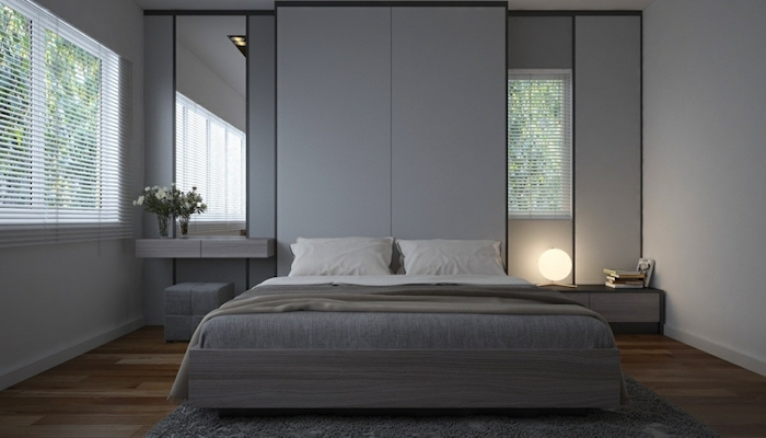 grey walls, tall mirrors, modern bedroom ideas, wooden bed frame, wooden shelves, wooden floor