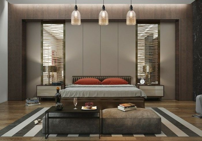 black and white striped carpet, modern bedroom ideas, grey walls, wooden night stands