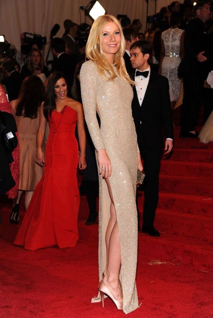 gwyneth paltrow, wearing a long beige sparkling dress, met gala 2017, nude heels, long blonde hair