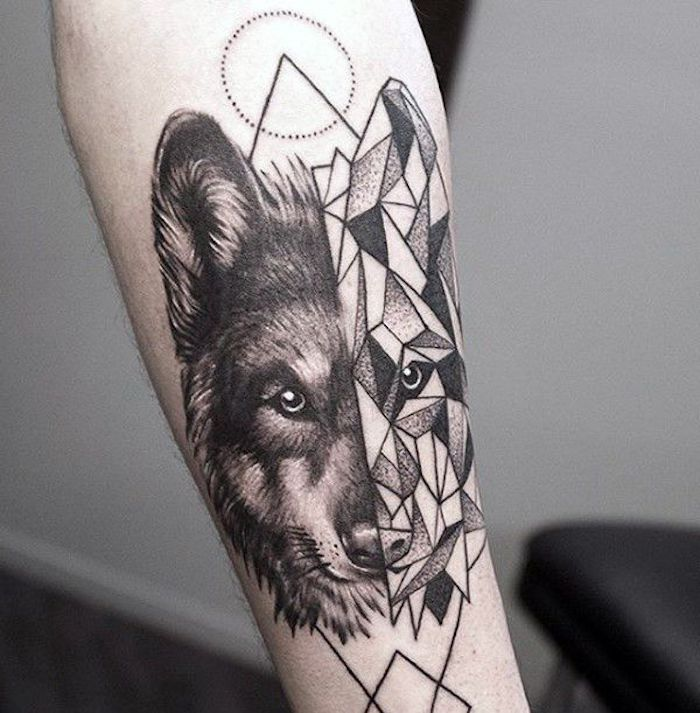 half geometrical wolf head, chest tattoos for females, forearm tattoo