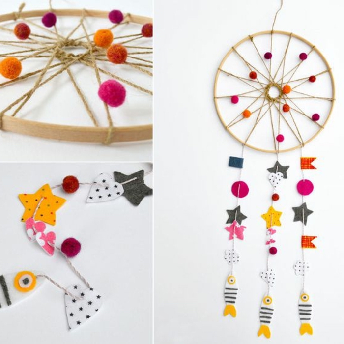 colourful dreamcatcher, made with pom poms, paper stars and fish, preschool learning activities
