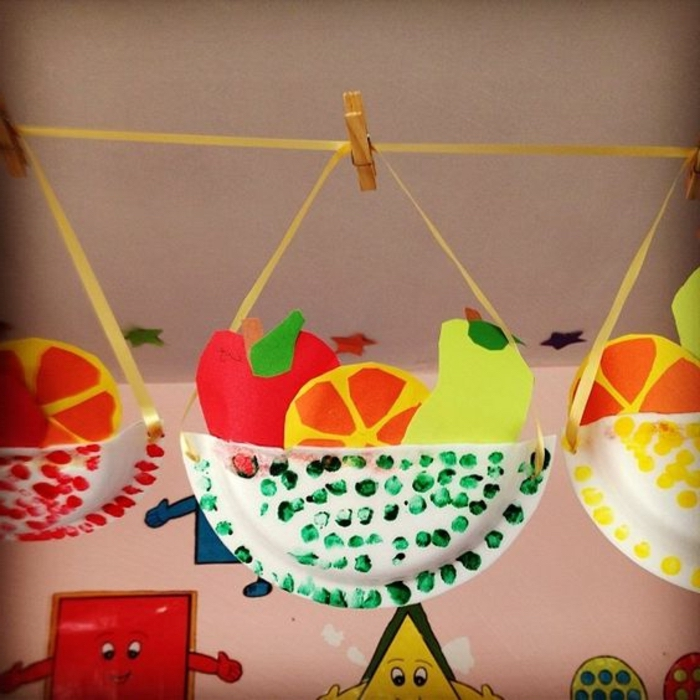 paper fruits, in a basket made of paper plates, preschool learning activities, hanging on yellow ribbon