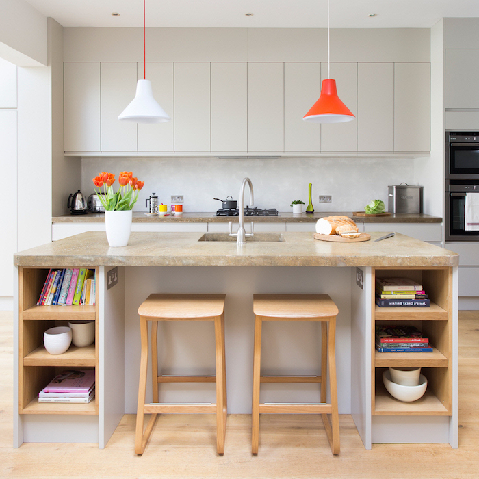 wooden bar stools, granite countertop, wooden kitchen island, kitchen island cabinets, open shelving