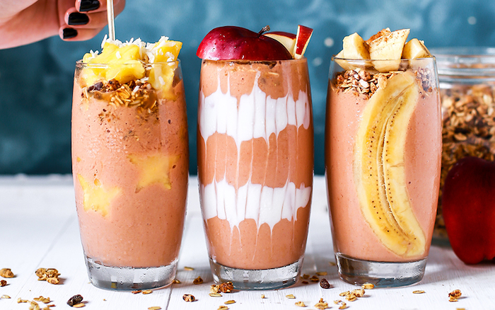 strawberry banana smoothie, layered smoothies, fruits inside the glass, oatmeal and apples