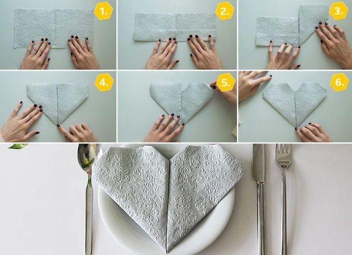 grey napkin, heart shaped, on a white plate, fancy napkin folding, diy tutorial, step by step