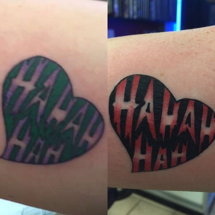 small matching tattoos, joker's laugh, inside a heart, green and purple, red and black