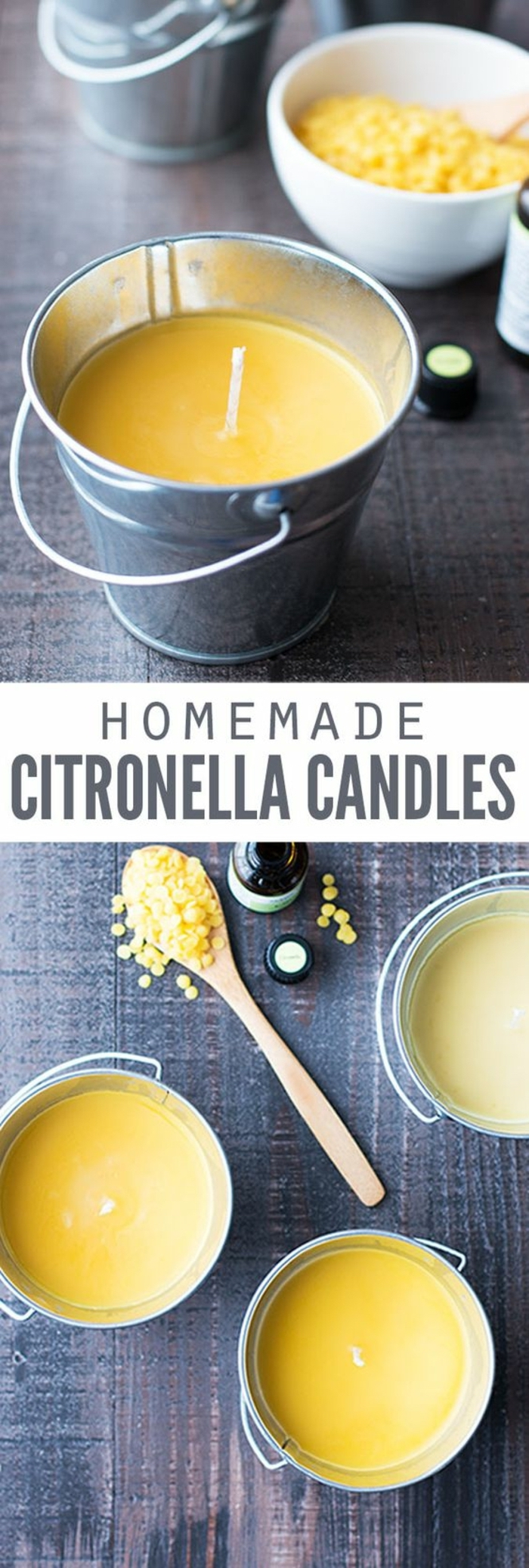 homemade citronella candles, how to make your own candles, yellow candle wax, inside a small bucket