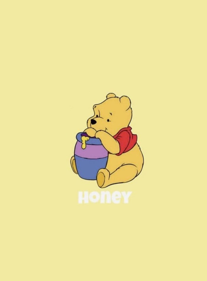 yellow background, cute girly wallpapers, winnie the pooh sitting, eating honey
