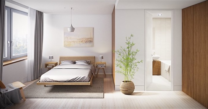 small master bedroom ideas, wooden bed frame, wooden floor, grey carpet, grey curtains